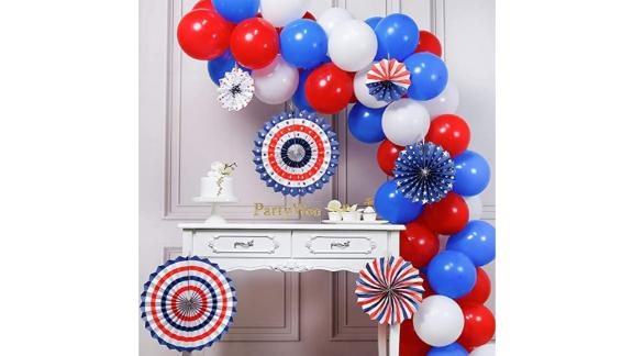 Red, white and blue PartyWoo balloons