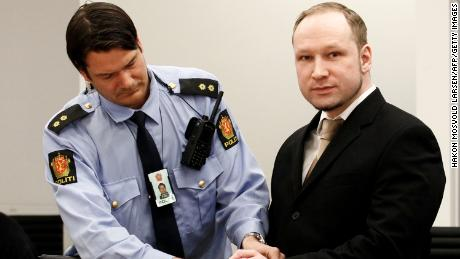 Rightwing extremist Anders Behring Breivik arrives in court on April 16, 2012 for the start of his trial.