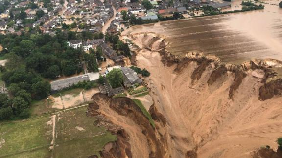 This aerial photo shows flooding in Erftstadt, Germany, on July 16.