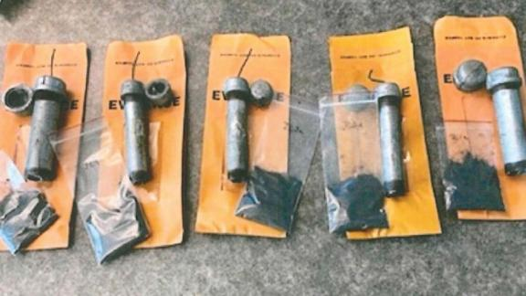 Improvised explosive devices seized by the Department of Justice from defendant Ian Benjamin Rogers.