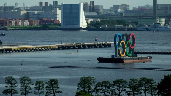 The Olympic rings float on a barge at Odaiba Marine Park as Tokyo prepares for the 2020 Summer Olympics.
