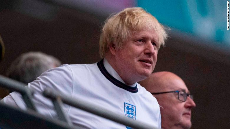 LONDON, ENGLAND - JULY 11: Prime Minister Boris Johnson watches the UEFA Euro 2020 Championship Final between Italy and England at Wembley Stadium on July 11, 2021 in London, United Kingdom. (Photo by Visionhaus/Getty Images)