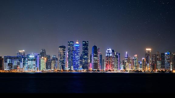 The ultramodern skyline of Doha, the Qatari capital.