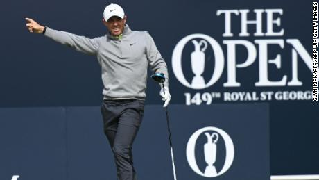 McIlroy tees off from the 1st hole during his second round of The Open.