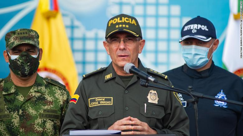 Colombia's Police Gen. Jorge Luis Vargas speaks during a news conference in Bogota, Colombia on July 12, 2021.