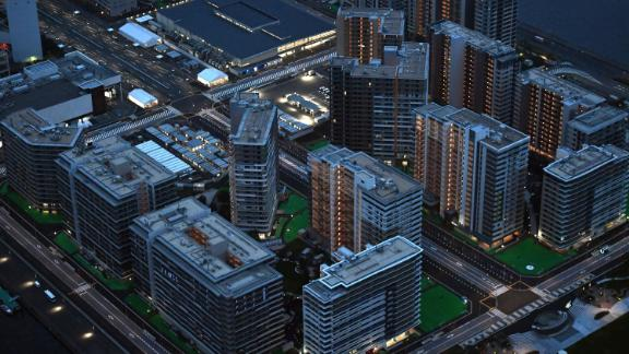 An aerial photo shows Olympic Village for athletes in Chuo Ward, Tokyo on July 13, 2021.