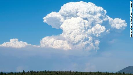 A pyrocumulus cloud from the Bootleg Fire drifts into the air near Bly, Oregon, on Friday.
