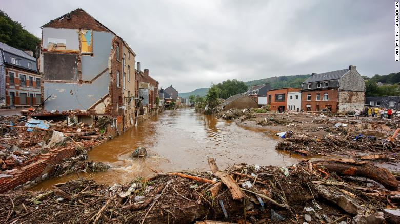 Homes are damaged in Pepinster, Belgium, on Saturday.