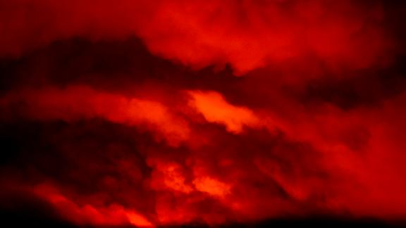 The Bootleg Fire illuminates smoke at night near Bly, Oregon.