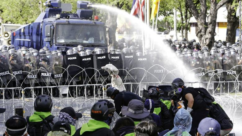 Thai protesters clash with police as Covid-19 cases continue to surge