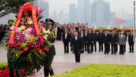 Xi Jinping, general secretary of the Communist Party of China (CPC) Central Committee and chairman of the CPC Central Military Commission (CMC), lays a wreath to the statue of late Chinese leader Deng Xiaoping in Shenzhen on December 11, 2012.