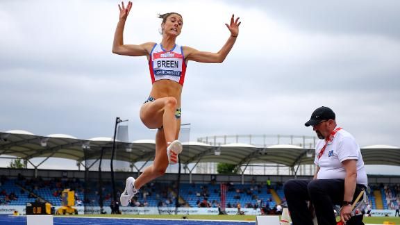 Olivia Breen competing in the Women's Long Jump Final at the Muller British Athletics Championships in Manchester, England on June 27, 2021