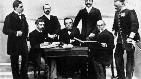 Left to right: Willabald Gebhardt of Germany, Baron Pierre de Coubertin of France, Jiri Guth of Bohemia, President Dimitros Vikelas of Greece, Ferenc Kemey of Hungary, Aleksei Butovksy of Russia, and Viktor Balck of Sweden at the first meeting of the International Olympic Committee, organized for the 1896 Olympic Games.