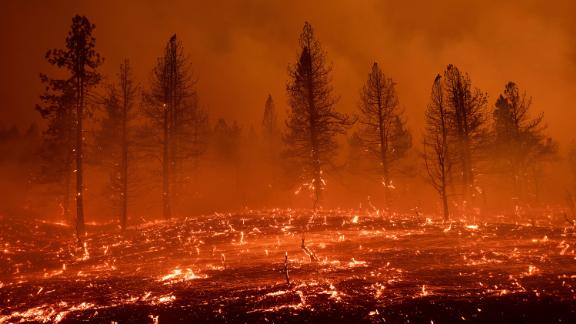 Embers blow across a field as the Sugar Fire burns in Doyle, California, on July 9.