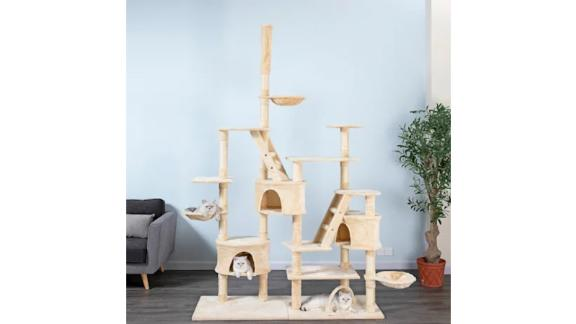 Go Pet Club Beige 106-Inch Cat Tree With Ladders, Condos and Side Baskets