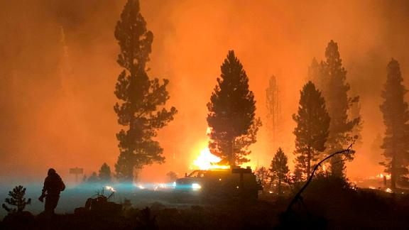 The Bootleg Fire burns at night in southern Oregon on July 17.