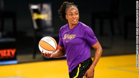 Forward Nneka Ogwumike #30 of the Los Angeles Sparks warms up before the game against the Dallas Wings at Los Angeles Convention Center on May 14, 2021 in Los Angeles, California.
