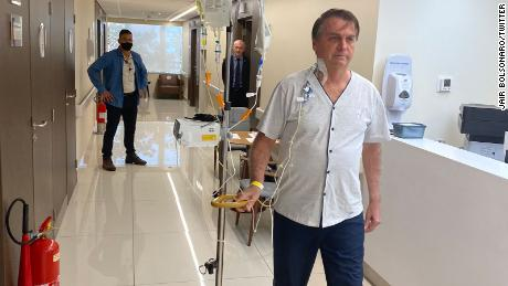 Brazilian President Jair Bolsonaro shares a photo of himself at the hospital on July 16.