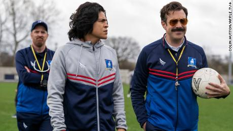Brendan Hunt, Cristo Fernández and Jason Sudeikis in & quot;  Ted Lasso & quot;  which will premiere on July 23, 2021 on Apple TV +.