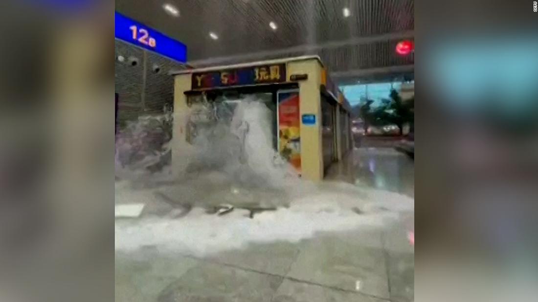 Heavy rainfall floods streets and subway stations in China
