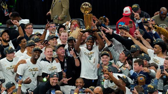 The Bucks celebrate after defeating the Phoenix Suns in Game 6 to win their second NBA title.