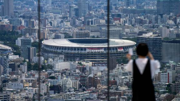 A general view over the National Stadium in Tokyo.