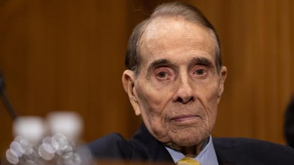 Bob Dole appears at a Senate Foreign Relations Committee confirmation hearing on Capitol Hill in Washington on Thursday, April 12, 2018.