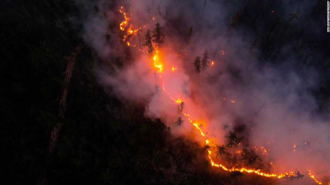 An aerial view shows a wildfire in Yakutia, Russia.