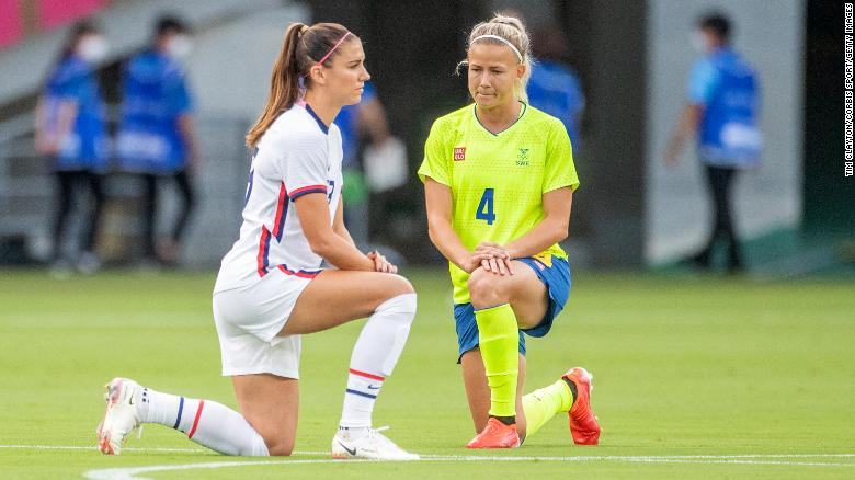 Women's soccer teams take a knee ahead of opening Olympic Games matches