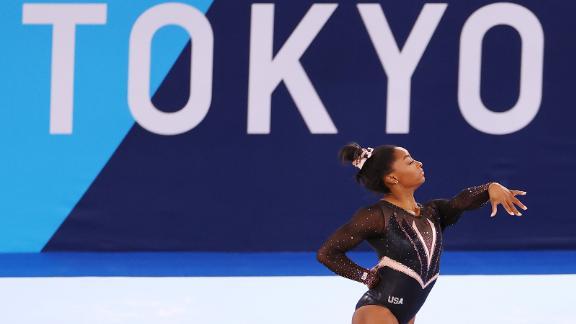 Simone Biles trains ahead of the Tokyo 2020 Games at Ariake Gymnastics Center on July 22.