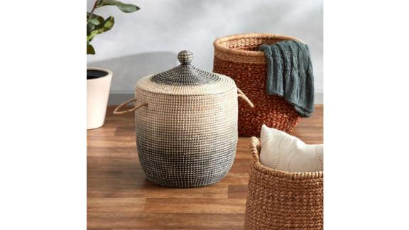 Ombre Seagrass Amelia shopping basket with lid