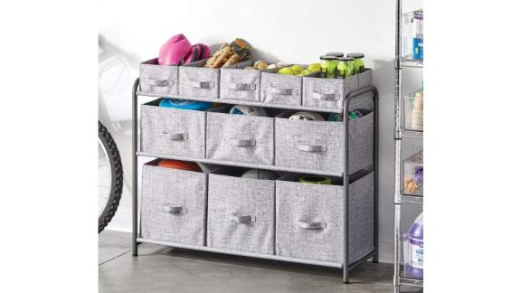 mDesign Wide 3-Tier Soft Storage Organizer with compartments