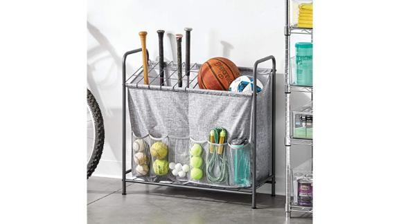 mDesign Sports Storage Rack with front pockets