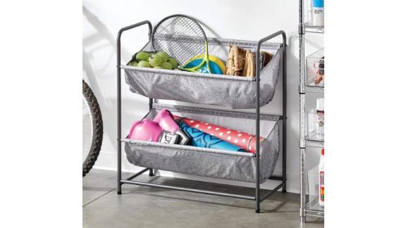 mDesign metal and fabric 2 tier rack organizer rack hammock