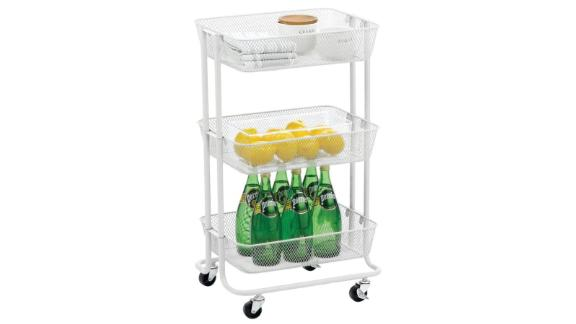 mDesign metal 3-tier mobile household storage trolley