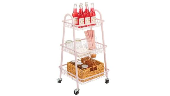 mDesign metal 3-tier conical wire roll household storage trolley