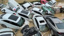 TOPSHOT - Cars sit in floodwaters after heavy rains hit the city of Zhengzhou in China's central Henan province on July 21, 2021. - - China OUT (Photo by STR / AFP) / China OUT (Photo by STR/AFP via Getty Images)