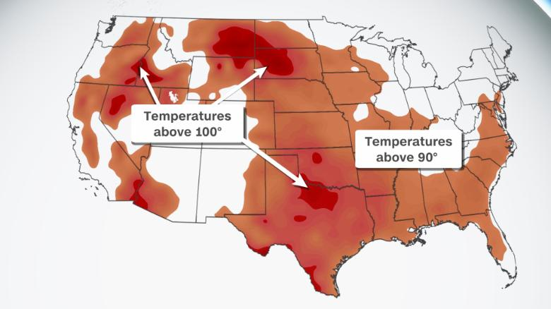 High temperatures are forecast to exceed 90 degrees across the country on Monday.