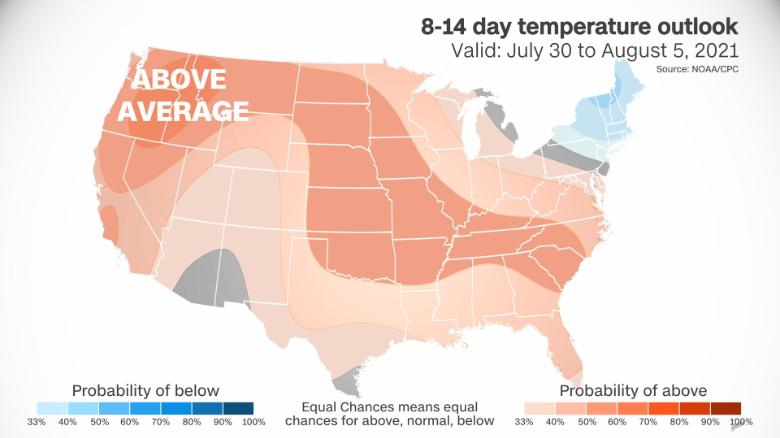The Climate Prediction Center outlook shows an above-average temperature trend for most of the US.