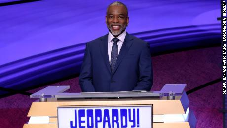 """""""Jeopardy!"""" guest host LeVar Burton is shown on the set of the game show."""