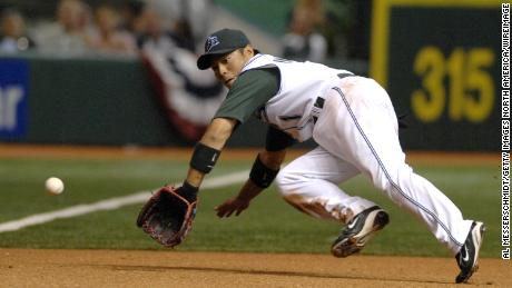 Akinori Iwamura is seen playing for the Tampa Bay Devil Rays, now the Tampa Bay Rays, in 2007.