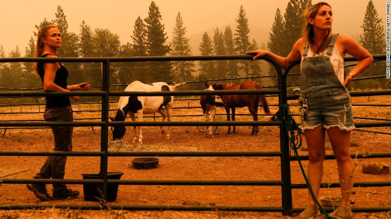Residents wait for a trailer to evacuate horses at a ranch in Crescent Mills on July 24.