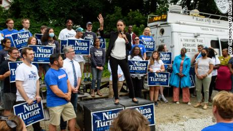 Rep. Alexandria Ocasio-Cortez (D-NY) speaks at a campaign rally on behalf of Ohio Congressional Candidate Nina Turner on July 24, 2021 in Cleveland, Ohio.