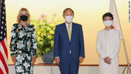 Biden meets with Japanese Prime Minister Yoshihide Suga and his wife Mariko.