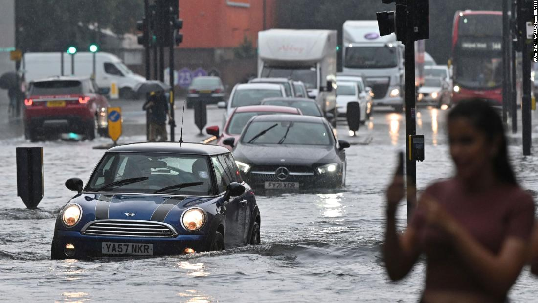 Roads, stations submerged in London floods