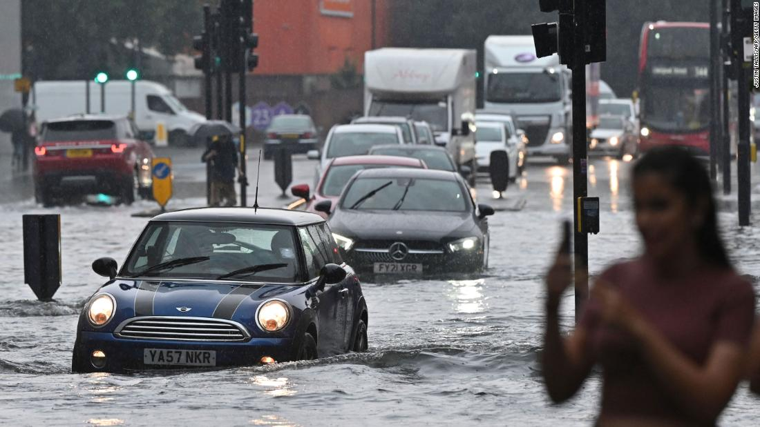 Thunderstorms cause flash flooding in London, submerging roads and some train stations