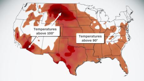 Heat wave bringing triple-digit temperatures from the Pacific to the Gulf Coast this week