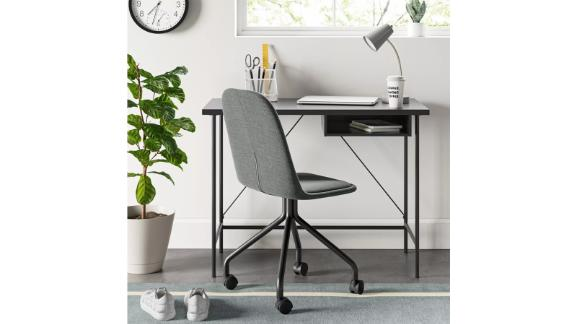 Wood and Metal Writing Desk With Storage