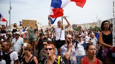 People in Marseille protest on Saturday against vaccine mandates.