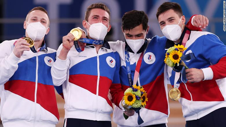 TOKYO, JAPAN - JULY 26: David Belyavskiy, Nikita Nagornyy, Artur Dalaloyan and Denis Abliazin of Team ROC pose with the gold medal after winning the Men's Team Final on day three of the Tokyo 2020 Olympic Games at Ariake Gymnastics Centre on July 26, 2021 in Tokyo, Japan. (Photo by Jamie Squire/Getty Images)